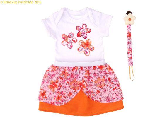 Girl baby shower, orange girl clothing set, cotton bodysuit, flower applique, pacifier clip, layered skirt, orange, magenta, newborn props - by RobyGiup
