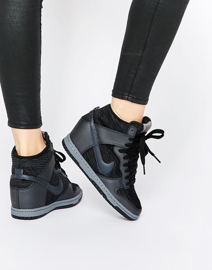 Nike+Dunk+Sky+Hi+Black+Wedge+Trainers
