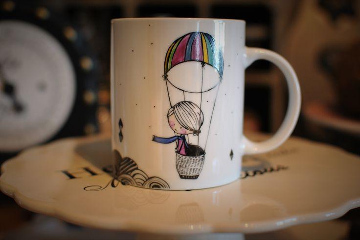 mug handpainted on porcelain