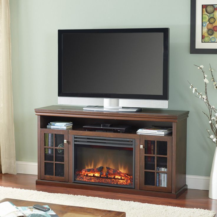 Shop Style Selections 57-in W 5,115-BTU Walnut Wood and Metal Fan- - Best 25+ Lowes Electric Fireplace Ideas On Pinterest Fake Stone