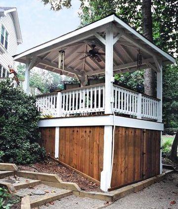 Storage Beneath Backyard Pavilion. Designed And Built By Atlanta Decking U0026  Fence.