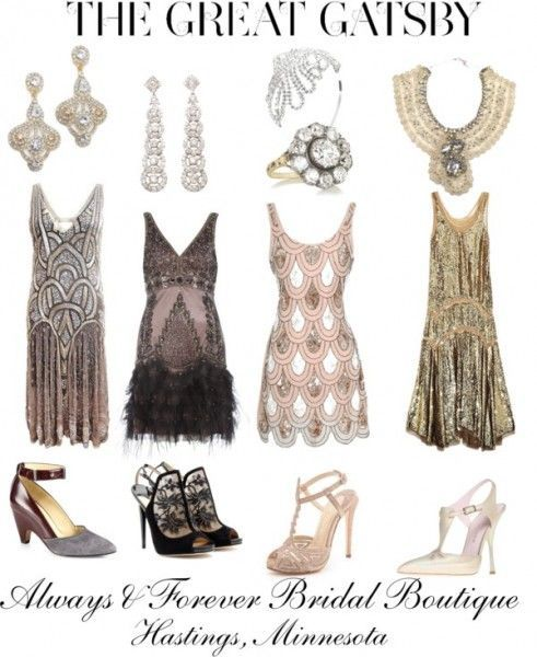BRIDESMAID DRESSES: If you're going for drama, glitz, and luxury, AND you're wedding dress screams 'Look at me!' than you don't have to worry about your bridesmaids stealing the show with these beautiful 20s style mini dresses. I'm picturing these alongside a WOW wedding dress oozing with flare and style - your ceremony aisle would turn into a catwalk!