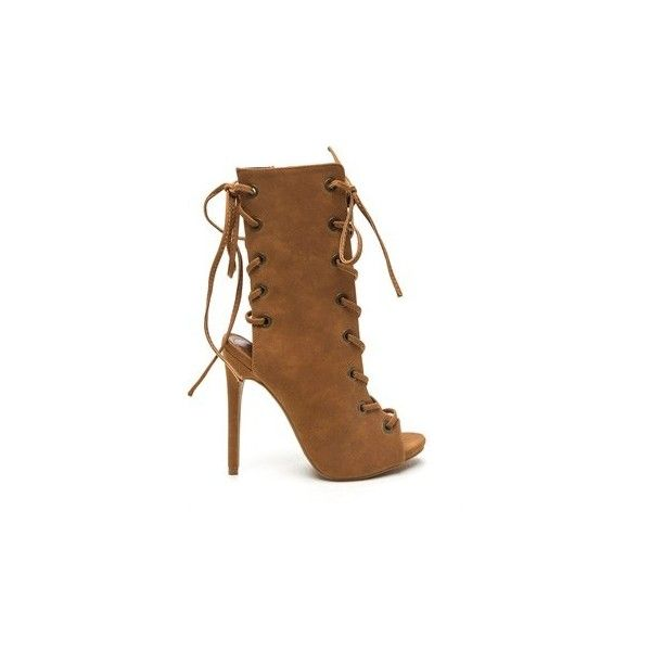 Front And Back Lace-Up Booties CHESTNUT (44 CAD) ❤ liked on Polyvore featuring shoes, boots, ankle booties, ankle boots, tan, short boots, back lace up boots, tan ankle booties, bootie boots and tan short boots