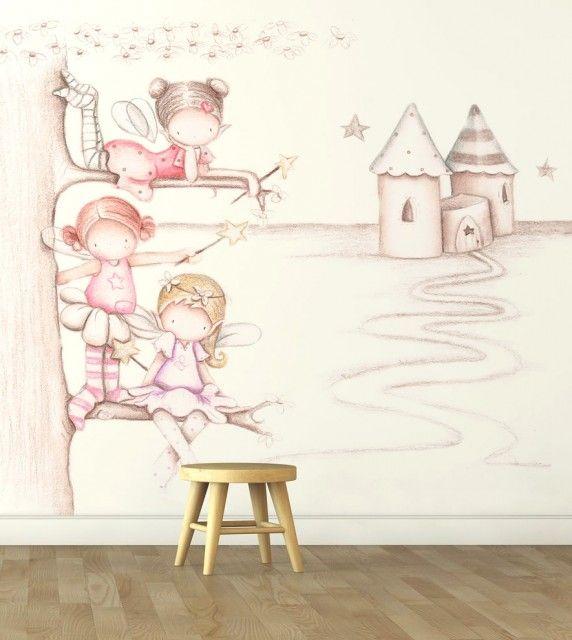 17 mejores ideas sobre murales de ni os y ni as en - Papel pintado infantil nino ...