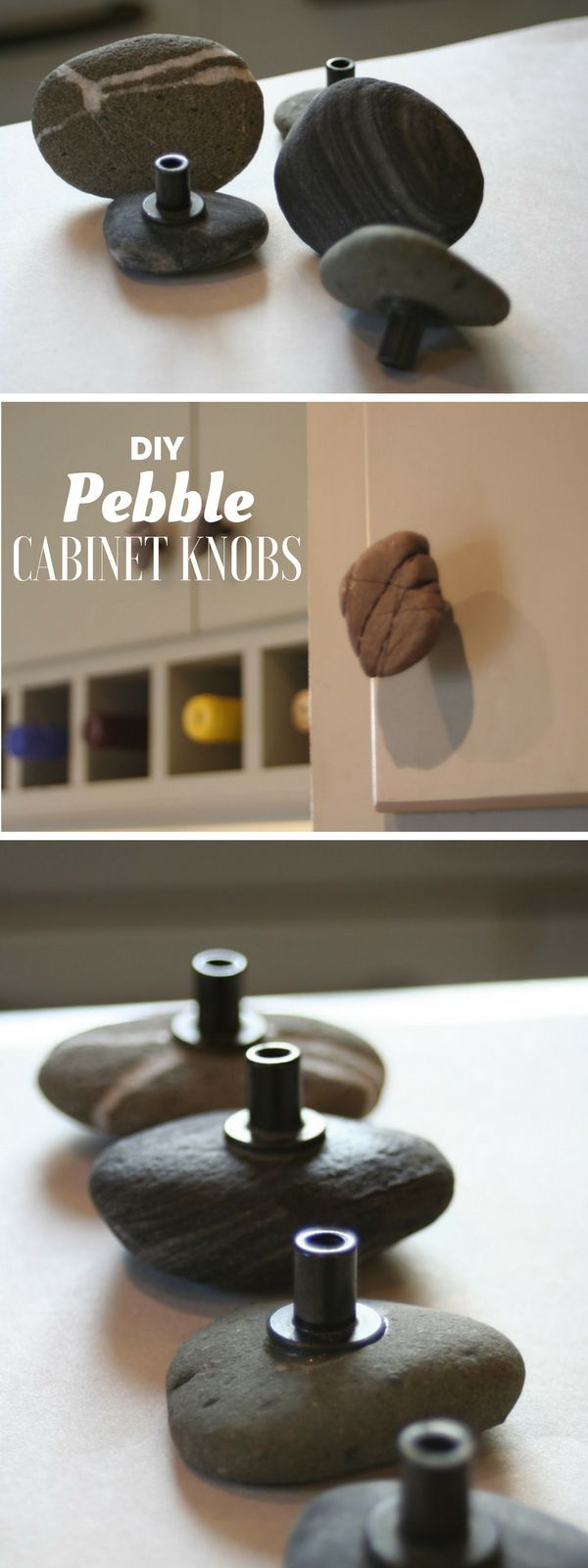 How to make easy DIY cabinet handles from rocks @istandarddesign