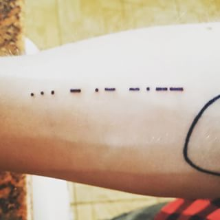 This morse code memento from Interstellar: | 33 Beautiful Tattoos Only True Film Lovers Will Appreciate