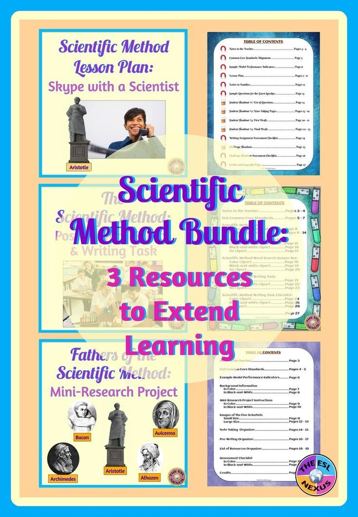 This money-saving bundle of 3 scientific method products give students speaking, listening, reading, writing & vocab practice by talking with a real scientist about the scientific method, researching a father of the scientific method & doing other tasks.