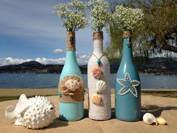 Beach Weddings. Painted Wine Bottles. Wedding Centerpiece. Patio Decor. Home Decor. Cottage Decor.