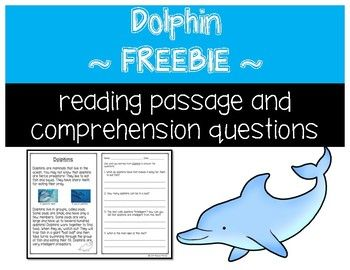 This product includes a short informational text about dolphins and four comprehension questions with short answer format. A color coded answer key is also included. This freebie is a sample from my Animals Informational Texts.