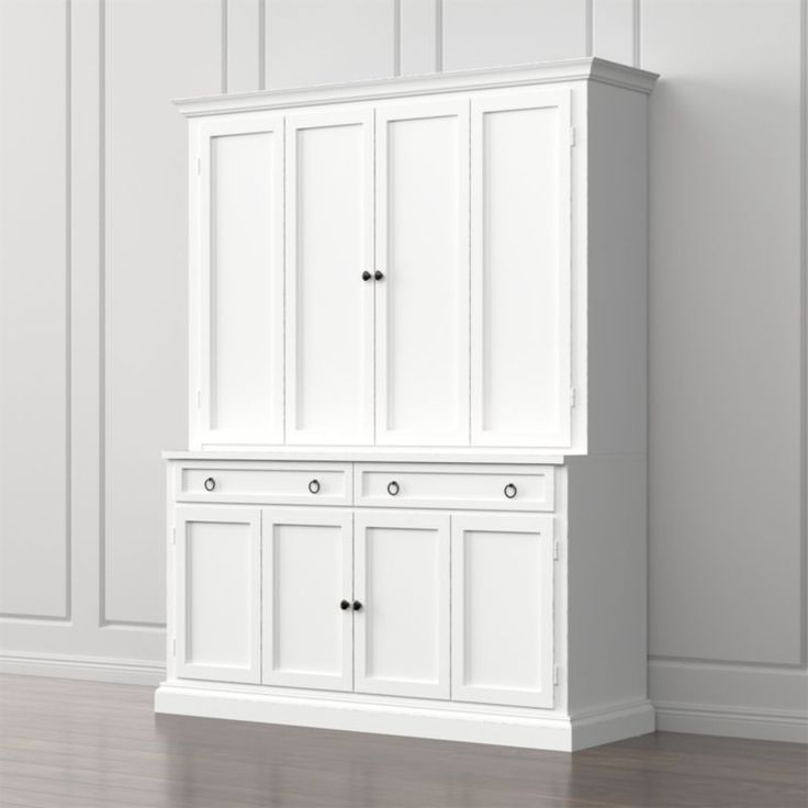 Shop Cameo 2-Piece White Entertainment Center. This modular TV stand with double bi-fold doors and two storage drawers supports the media/TV hutch with crown molding, adding height and drama to media configurations while concealing the TV when closed.