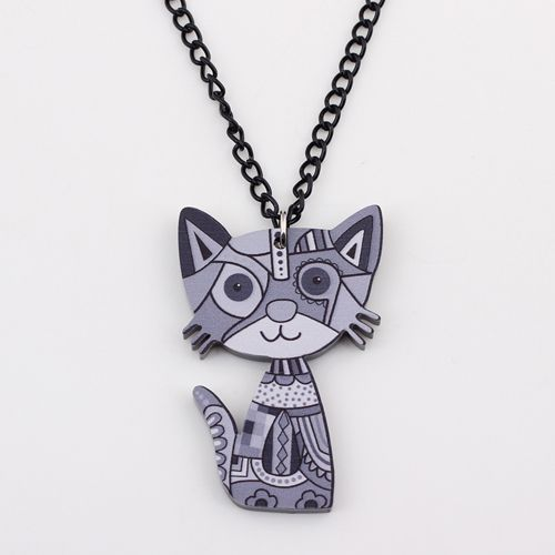 Colorful Acrylic Cat Necklace