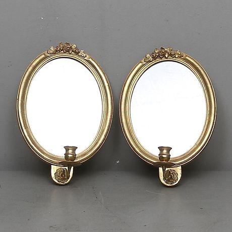 SPEGELLAMPETTER, ett par, gustaviansk stil, 1900-tal. Speglar – Auctionet