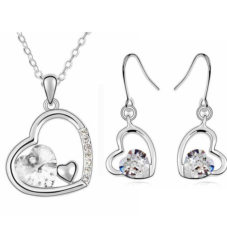 Bridal White Hearts Jewellery Set Drop Earrings Necklace with Pendant S374 | eBay
