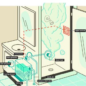 Considering installing a steam shower? We show you what it takes and how they work. | Illustration Harry Campbell | thisoldhouse.com