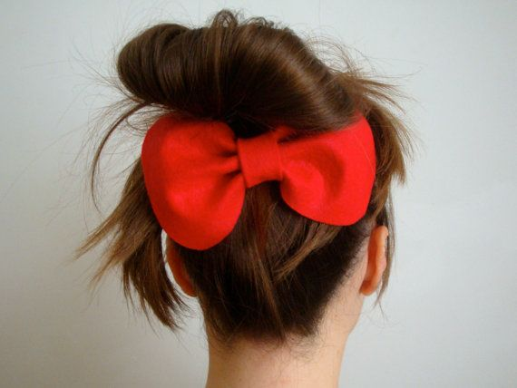 Giant Cute Bow // Red Felt Hair Bow // Original by StampAndStitch