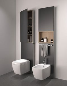 Like how they've used space above a toilet for storage. Presumably it's also easy to get at plumbing if any problems.