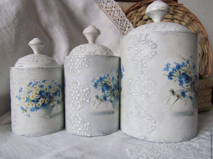 """Купить Баночки """"Полевые цветы"""" для хранения в ванной комнате, декупаж - голубой, для хранения, для ванной комнаты"""