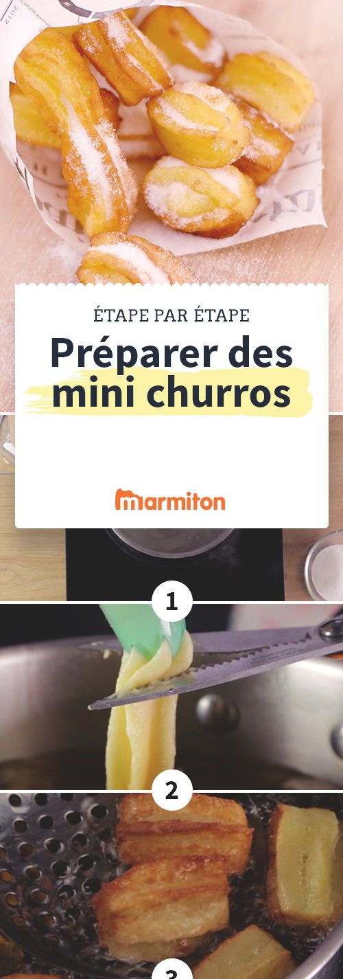 Des churros bien croustillants avec un peu de sucre dessus à manger tels quels ou à tremper dans le chocolat chaud #churros #recette #marmiton #beignet #espagnol