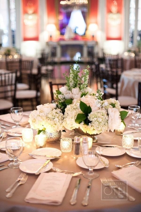 white and green centerpieces