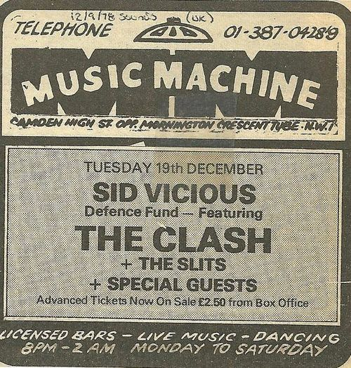 sid vicious and the clash ticket stub,
