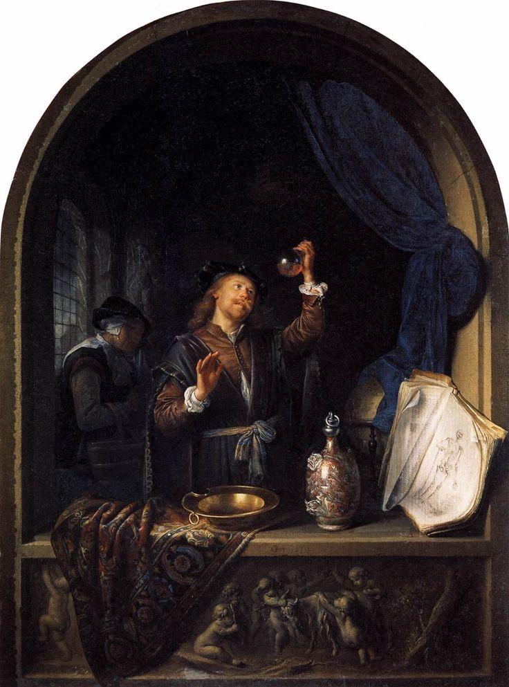 Arts met een urinaal in een venster (de dokter). 1653. Gerard Dou. Gesigneerd met jaar. Beschouwd als origineel. Kunsthistorische Museum, Wenen. Met dit werk heeft Dou het thema van de piskijker in zijn werk geïntroduceerd. Zo'n dokter, vergezeld van een oude vrouw, was al in 1635 door Ter Borch uitgebeeld en iets later ook door David Teniers. Dou heeft het vulgaire boerse onderwerp getransformeerd tot een nieuw thema voor schilders van het burgerleven.