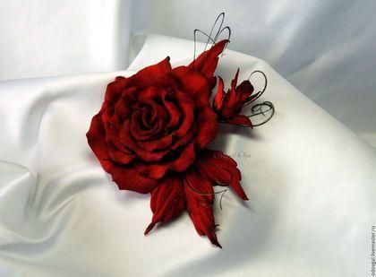 Броши ручной работы. Брошь роза Lady red (итальянская замша). Студия…