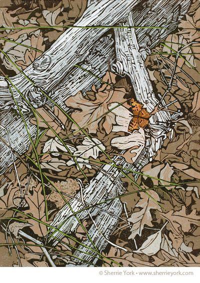 Decay, linocut by Sherrie York