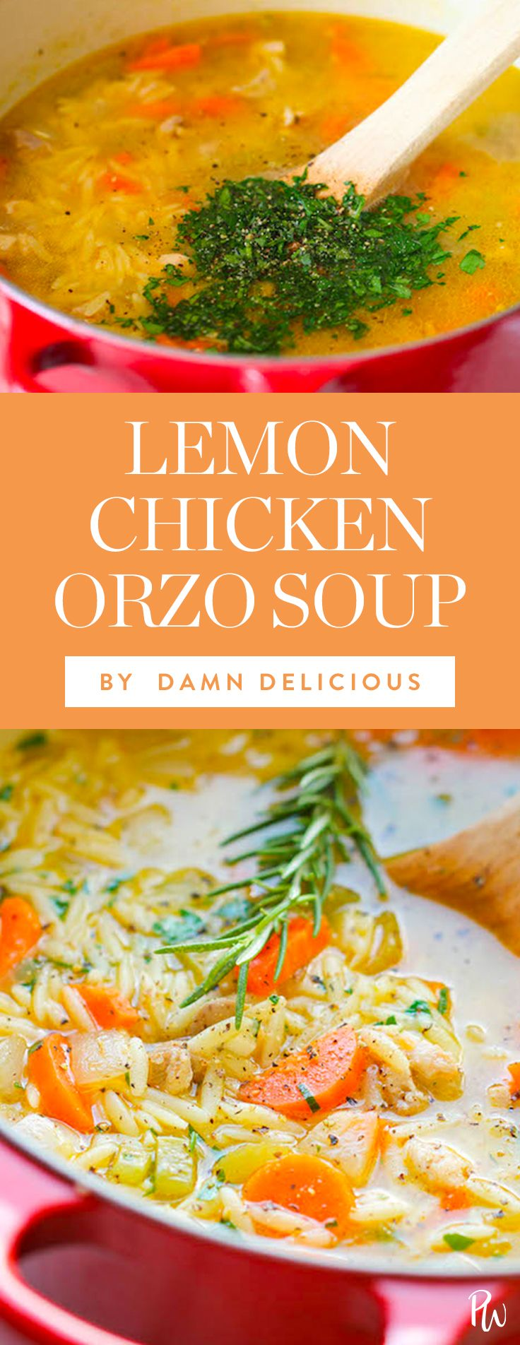 Lemon Chicken Orzo soup -- 50 Chicken Soup Recipes to Warm You Right Up : purewow