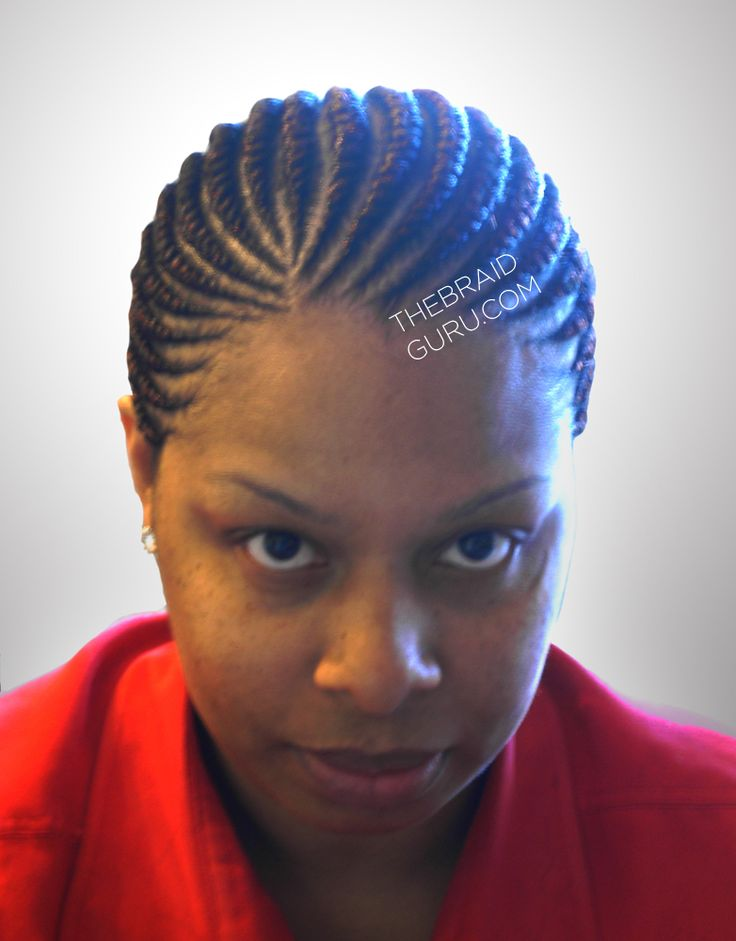 Medium Feed-In Cornrows - 1 layer - Front View Braids by