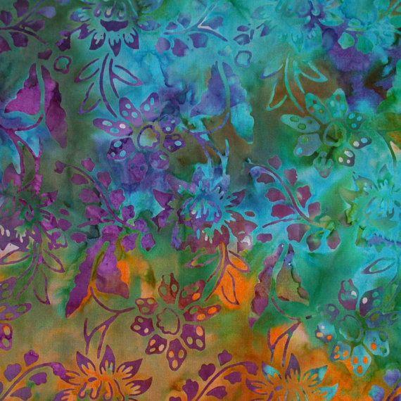 Bali Fabrics Turquoise Purple Floral Cotton Batik Fabric