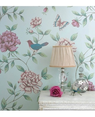 Birds on duck egg blue  Too girly for the boy half of the room?