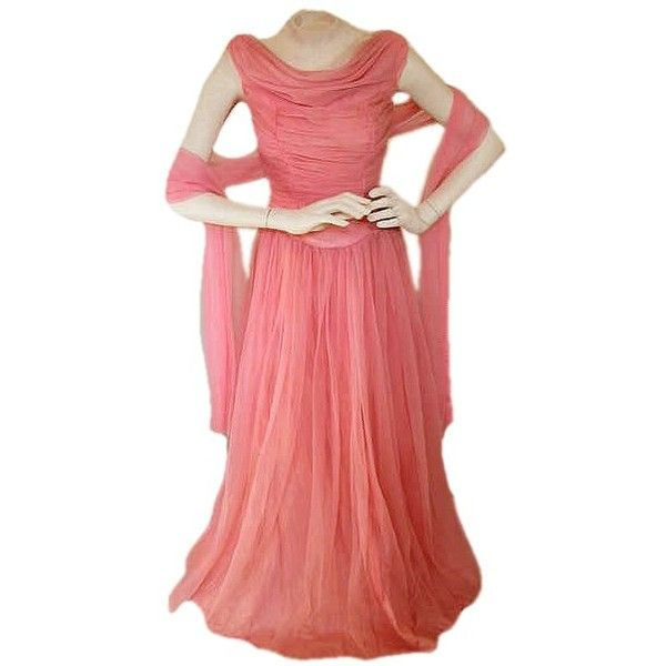 Vintage 1950s Grecian Goddess Gown Hollywood Glamour Dress ❤ liked on Polyvore featuring dresses, gowns, grecian gown, red dress, red evening gowns, vintage evening dresses and red grecian dress