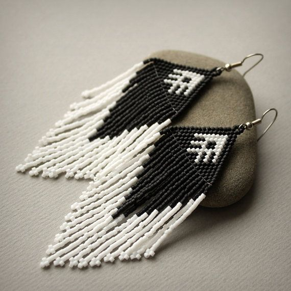 Beaded earrings with fringe. Black and White seed bead earrings. My original design. Earrings made of Japanese seed beads. Measurements: Length -10 cm / 4 (including ear wires). Width - 3 cm / 1.2 - Surgical steel ear wires - Tiny Miyuki delica seed beads size 11/0 - Earrings are