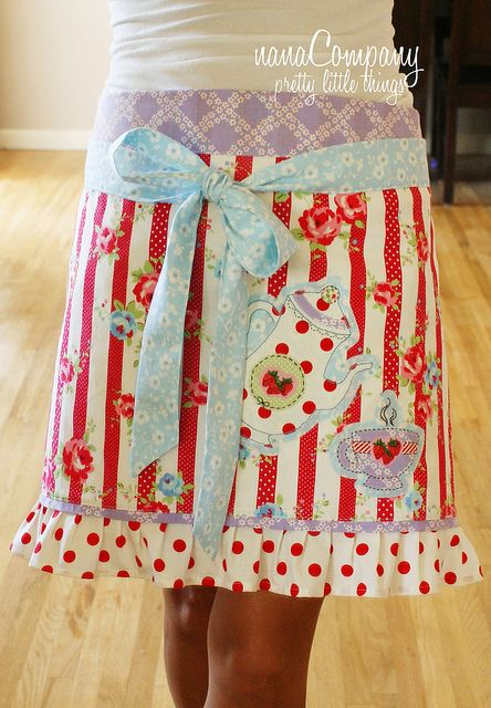 Aqua and red apron