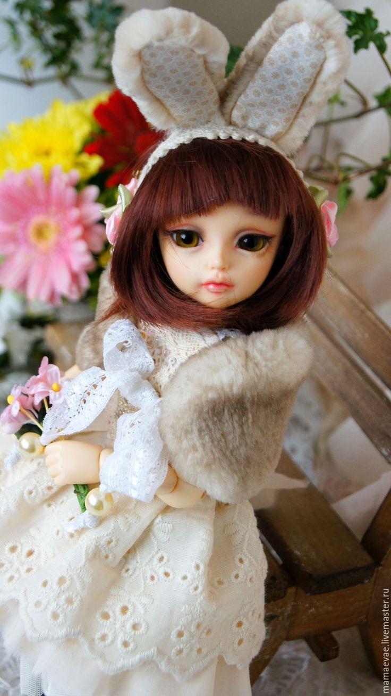 Купить Сливочная Зайка в нежных маргаритках - бежевый, нежность, одежда для кукол, одежда, кукла, платье