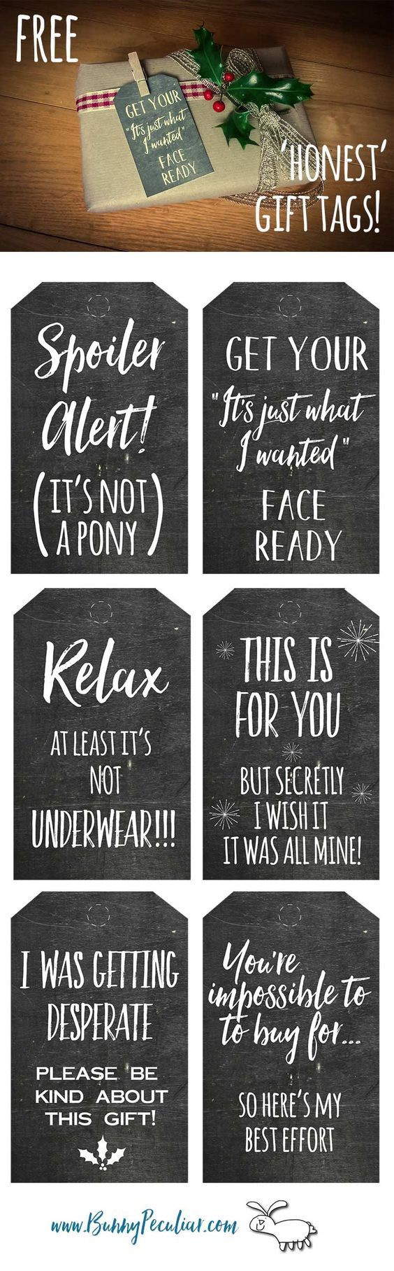 Honest Christmas chalkboard gift tags are what you really need this holiday season. Tired of trying to guess what to buy people at Christmas? Check out these free tags from Bunny Peculiar.:
