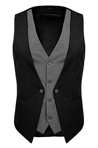 Coofandy Men's V-neck Sleeveless Slim Fit Jacket Business Suit Vests (Medium, Black) - Royal Hub