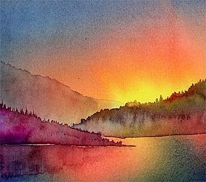 Alaska Sunset - Karen Mattson. Easy watercolor tutorial