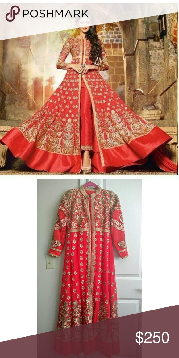 Red Anarkali Gown with Embroidery NEVER WORN. Gorgeous Bollywood Indian Style Gown in Anarkali style. Shalwar kameez. Chiffon with net overlay. Stunning beadwork and embroidery detail! Comes with pants. Fits size 6-8. Price Firm. Meaurements upon request. Free matching bangles with purchase Dresses Wedding