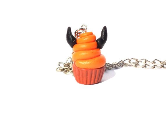 Devil muffin necklace halloween necklace by LittlePandahugs