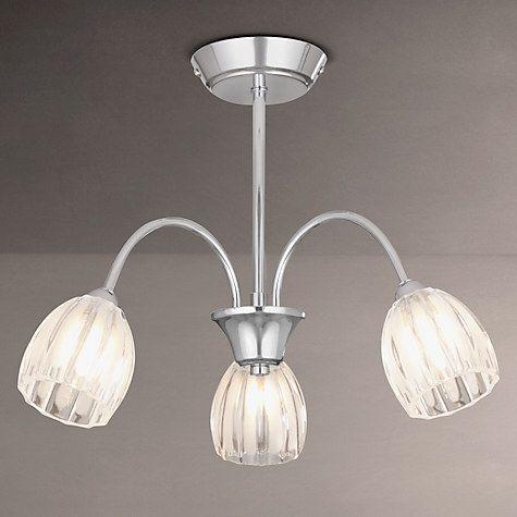 Buy john lewis brooke fluted 3 arm ceiling light chrome online at johnlewis com