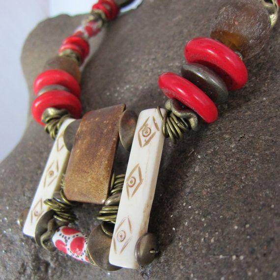 Gioielli etnici, collana africana, gioielli africani, Trade Beads, Sud Africa, stile Boho, gioielli tribali, gioielli Afro, A52 collana regolabile