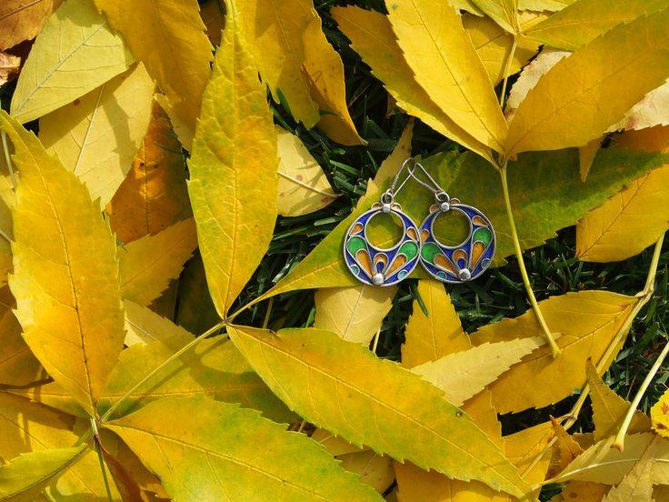 """""""Toamna este o a doua primăvară, când fiecare frunză e o floare.""""  Albert Camus #metaphora #silverjewellery #silverjewelry #earrings #enamel #morocco"""