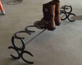 Horseshoe Boot Rack Holds 3 Pair of Boots by TheRusticHorseshoe