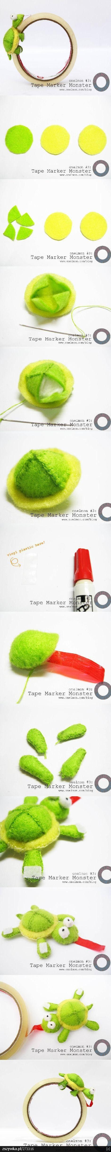 Cute idea! felt tape marker monster