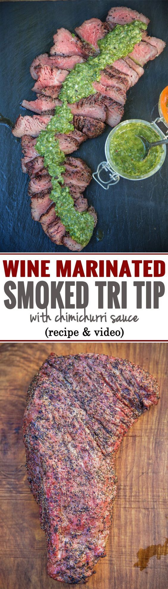 Red Wine Marinated Smoked Tri Tip with Chimichurri Sauce. Full recipe and video over on vindulge.com!