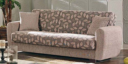Empire Furniture USA Chestnut 2016 Collection Convertible Sofa Bed with Storage Space Including 2 Pillows Light Brown Floral Print