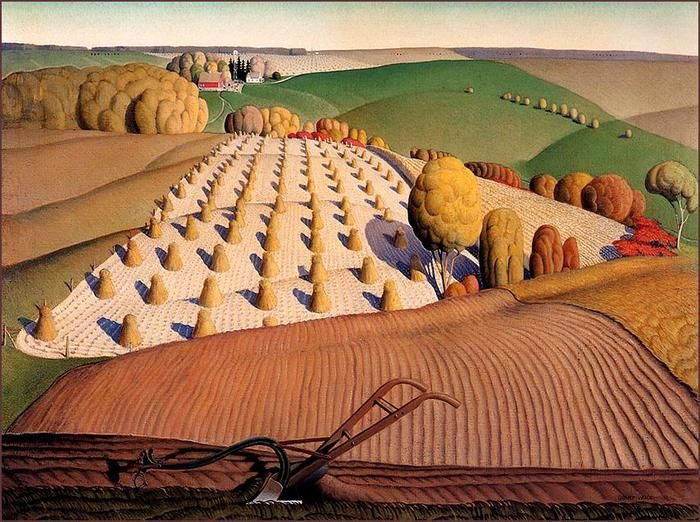 Grant Wood  We had one of his paintings hanging up at my elementary school.