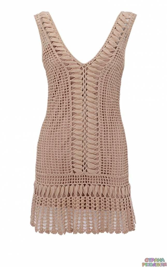 Бежевое платье от Карен Миллен - Платье.Сарафан - Вязание крючком - Рукоделие