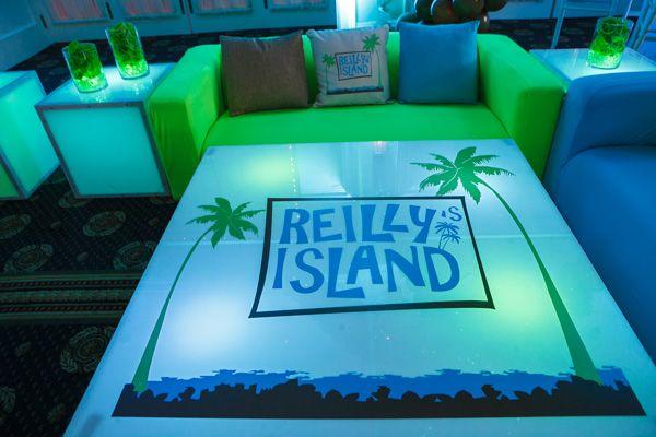 Tropical Island Theme Bat Mitzvah, Blue & Green LED Logo Table {By Balloon Artistry, Sarah Merians Photography} - mazelmoments.com